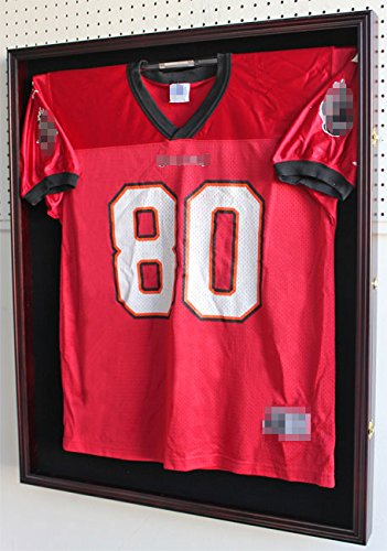 XX Large Football/Hockey Uniform Jersey Display Case frame, UV Protection ULTRA CLEAR, LOCKS (Mahogany - Jersey Case