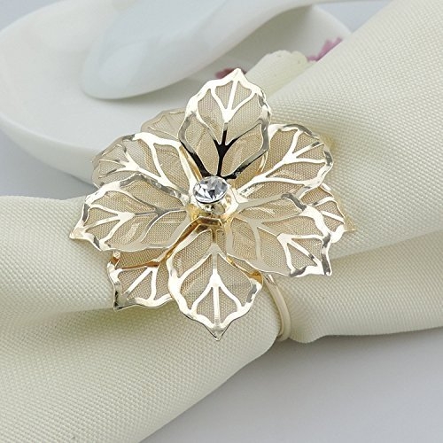 Elehere 12 Pcs Flower Napkin Rings Holders Set for Holiday Wedding Christmas Thanksgiving, Stainless Steel Dinner Parties Home Table Decoration (Leaf 3, 12)