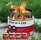 Stove In A Can: 4 Stove Value Pack – Portable Hybrid Wood Fuel Cell All In One Camp Stove (non-Coleman/Propane/Canister) – It's Like a Safe, Contained Campfire – Great Gift Idea