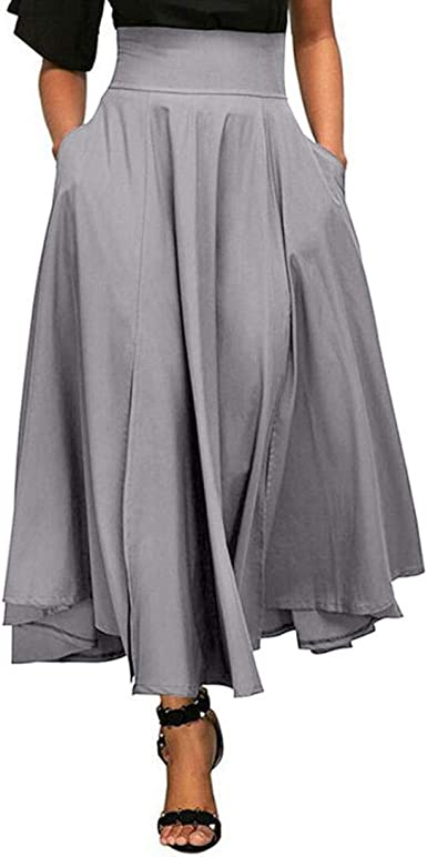 VJGOAL Moda Mujer Retro Cintura Alta Plisada Frente Hendidura ...