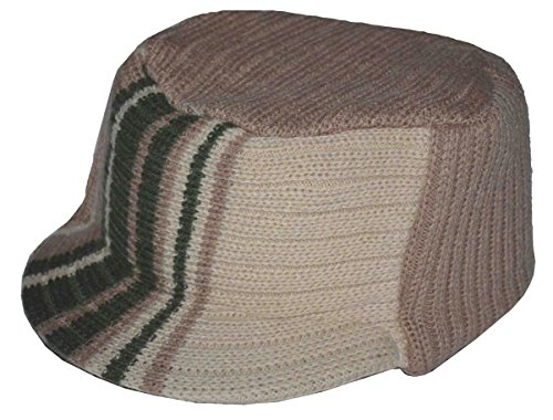 K Men's Flat Top Visor Beanie Knit Jeep Cap Khaki Olive -