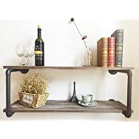 Industrial Rustic Wood Wall Mounted Iron Pipe Shelf Hung Bracket Kitchen Wood Wall Shelf 36''