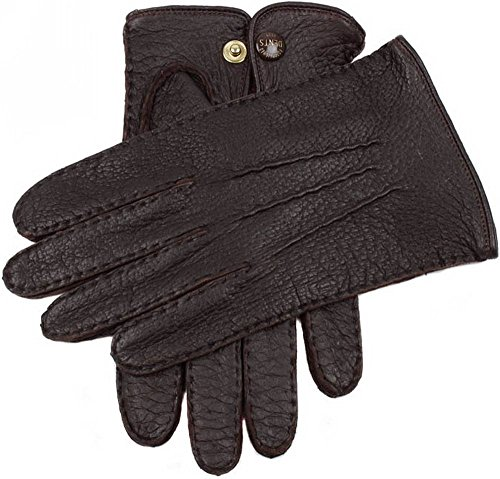 (Dents Mens Clifton Unlined Peccary Leather Gloves - Bark - Medium )