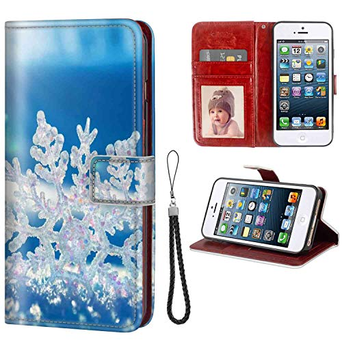 Phone Wallet Case Fits for Apple iPhone SE (2016) | iPhone 5S (2013) | iPhone 5 (2012) 5.5-Inch Snowflake Anti Drop