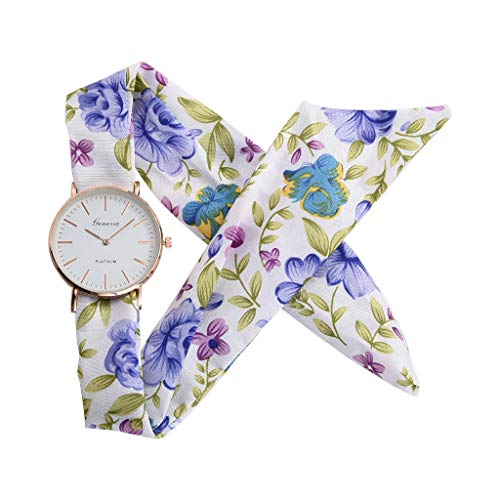 chenqiu Women's Casual Fashion Floral Watch, Fabric Color Printed Strap Quartz Elegant Crystal dial Bracelet Watch