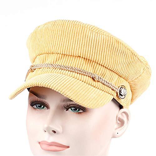 New Arrival Women Men Corduroy Beret Cap Unisex Fashion Navy Hat Outdoor Casual Caps Hot Sale Winter Hats For Women Cheapu Yellow