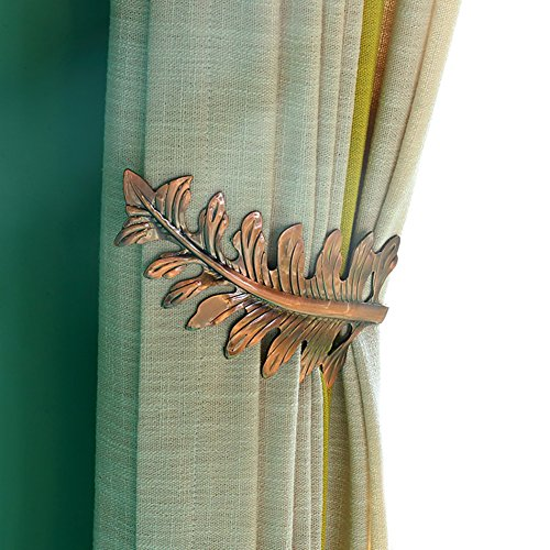 Copper Holdbacks - YYC Set of 2 American Style Leaf Curtain Wall Hook Drapery Window Treatment holdback (Copper)