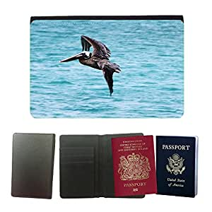 Hot Style PU Leather Travel Passport Wallet Case Cover // M00110375 Pelikan Bird Brown Pelican // Universal passport leather cover