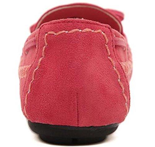 Ppxid Donna Scamosciata Flat Bowknot Slip On Mocassini Scarpe Casual Rosa