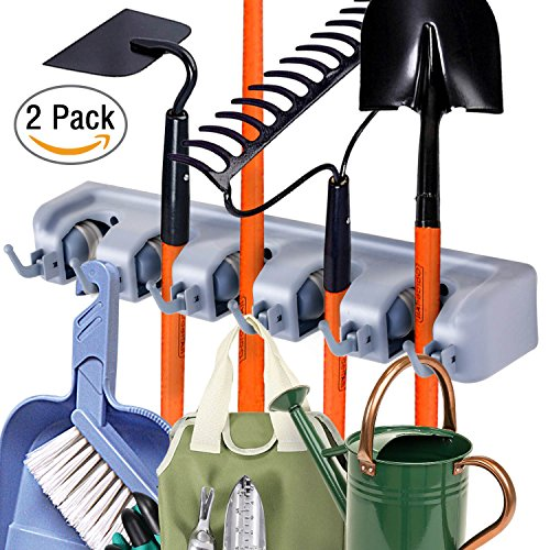 Pack of 2 Heavy Duty Broom Holder Wall Mounted, Hanging Over Mop Broom Tools Organizer Storage Rack by DealBang (5 Slots 6 Hooks) (Tool Wall Storage Hanging)