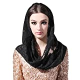 Infinity Scarf Mantilla Catholic Church Veil Head Covering Latin Mass (Black)