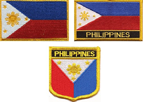 (3 Pack Set of Philippines Flag Patches, Contains Patch with Name, Without Name and a Shield Patch, Filipino Embroidered Iron On or Sew On Flag Patch Emblems)