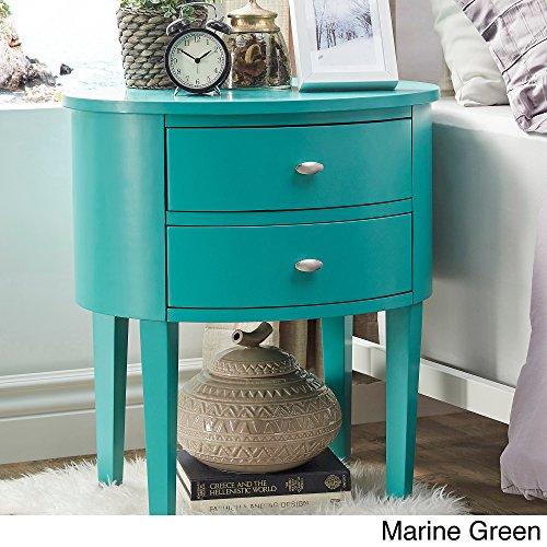 Price comparison product image Classic Aldine 2-drawer French Dovetail Construction Oval Wood Accent Table (Marine Green)
