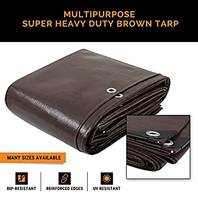 Super Heavy Duty 16 Mil Brown Poly Tarp Cover - Thick Waterproof, UV Resistant, Rot, Rip and Tear Proof Tarpaulin with Grommets and Reinforced Edges - by Xpose Safety