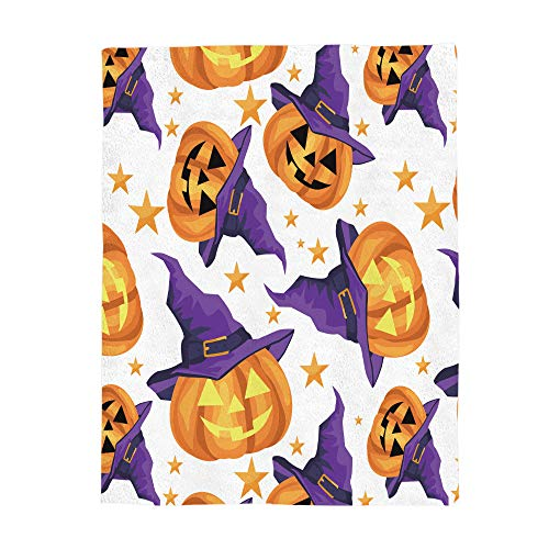 Flannel Fleece Blanket Happy Halloween Witch Hat Pumpkin Clipart Bed Blanket Super Soft Warm Cozy for Baby/Girl/Boy/Adult/Travel Size -