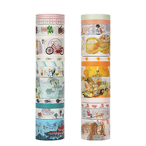 Molshine 24 Rolls(1.2inX5.5ydX6rolls, 0.6inX5.5ydX6rolls 0.3inX5.5ydX12rolls) Japanese Washi Masking Tape, Urban Notes Sticky Paper Tape for DIY, Decorative Craft, Gift Wrapping, Scrapbook