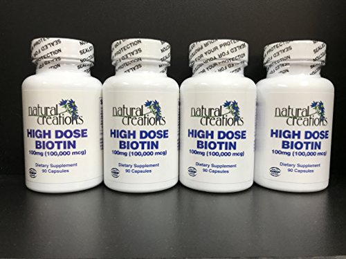 High Dose Biotin Bundle - 4 Bottles of 90 capsules each by Natural Creations