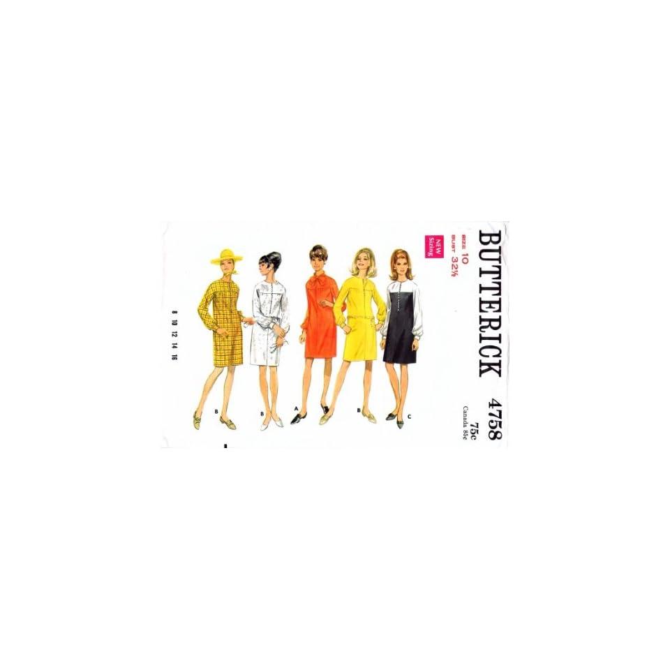 Butterick 4758 Vintage Sewing Pattern Womens Jewel Neck Slim Dress Size 10 Bust 32 1/2