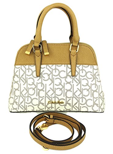 Calvin Klein Ck Monogram Dome Satchel Crossbody Bag (almond Khaki Camel)