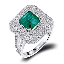 White Gold With Green Emerald Diamond Ring