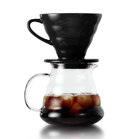 MEARCOO Juego de gotero de cerámica Pour Over Coffee V60 ...