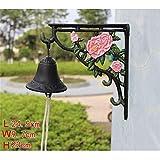 HIZLJJ Outdoor Wall-Mounted Fountains Door Chimes Bells Cast Iron Door Bell 3D Peony Wall Hanging Doorbell Garden Courtyard Decorative Doorbell Nostalgic Charm for Home and Garden