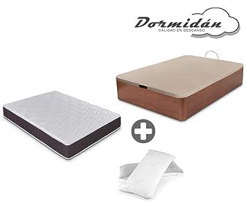 Dormidán - Pack de canapé abatible de Gran Capacidad + colchón viscoelástico + Almohada visco Copos de Regalo (150_x_190_cm, Cerezo): Amazon.es: Hogar