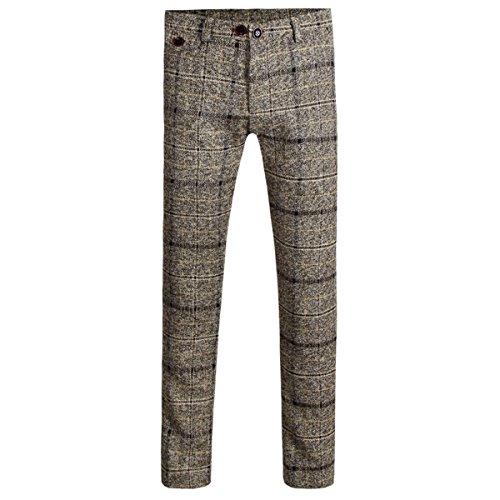 Cloudstyle Mens Pants Slim Fit Flat Front Plaid Stripe Comfort Suit Pant Dress Trousers
