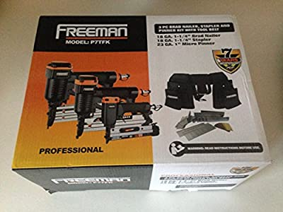 Freeman Professional 3-Piece Trim & Finish Combo Kit with Tool Belt: Brad Nailer, Stapler, Pinner; Model P7TFK