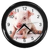 Baby Pig Black Frame Novelty Animal Wall Clock
