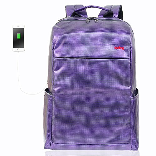 Usb Damaged Ports (Travel Laptop Backpack, Uoobag Slim Anti Theft Business Computer Backpack with USB Charging Port Waterproof Back Bag for Men/Women/Student 15.6 Inch Purple)