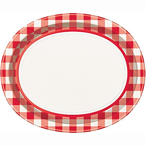Oval Red and White Gingham Paper Plates, 8ct