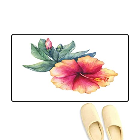 Amazoncom Interior Doormat Peach Pink Hibiscus Flower Watercolor