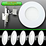 Leisure LED Pack RV Boat Recessed Ceiling Light 240 Lumen Super Slim LED Panel Light DC 12V 3.375'' 3W Full Aluminum Downlights, Cool White (Cool White, 5) (Cool White, 5 Pack)