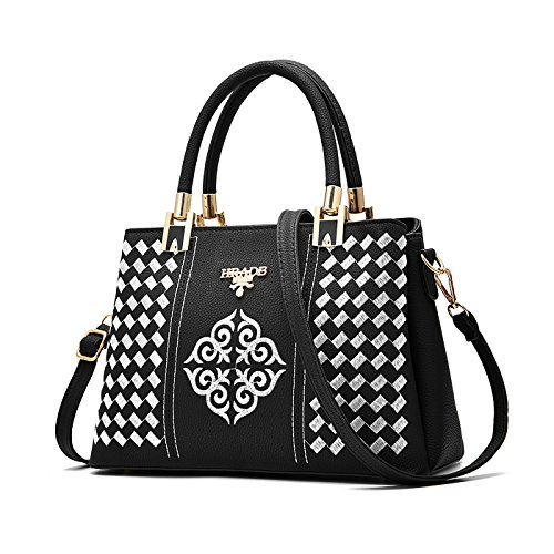 Tisdaini Mujer bolso de mano moda casual Salvaje bolso bandolera bolsas de marca Blanco Y Negro