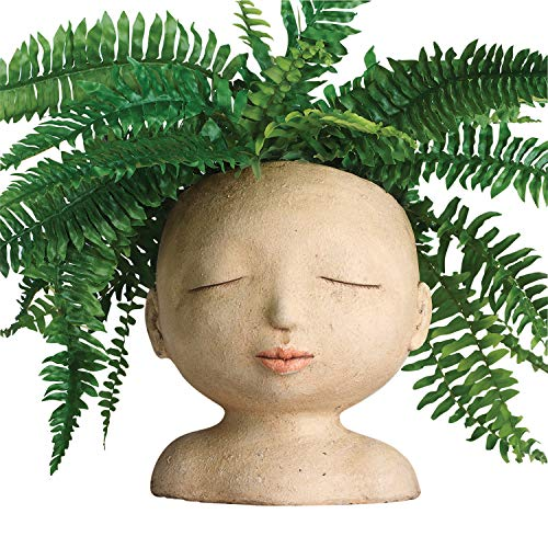 "ART & ARTIFACT Head of a Lady Indoor/Outdoor Resin Planter - Plants Look Like Hair, 9"" Tall"