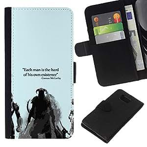NEECELL GIFT forCITY // Billetera de cuero Caso Cubierta de protección Carcasa / Leather Wallet Case for Samsung ALPHA G850 // Bard O Existencia Cormac Mccarthy Dracónido