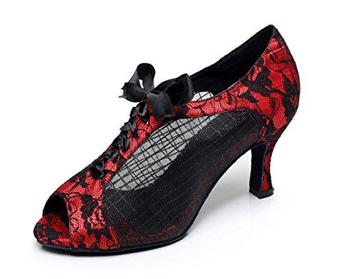 JSHOE Dentelle Imprimée Maille Chaussures De Danse Latine Salsa/Tango/Thé/Samba/Moderne/Chaussures De Jazz Sandales Talons Hauts,Red-heeled8.5cm-UK5.5/EU38/Our39