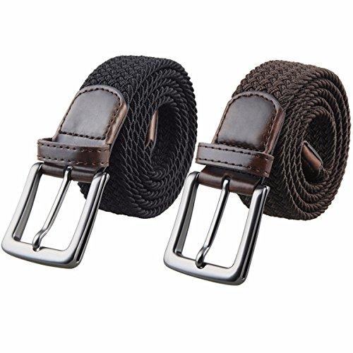 Elastic Waist Skirt Woven (Samtree Men's Elastic Woven Stretch Braided Belt,Pack of 2 Colors (40