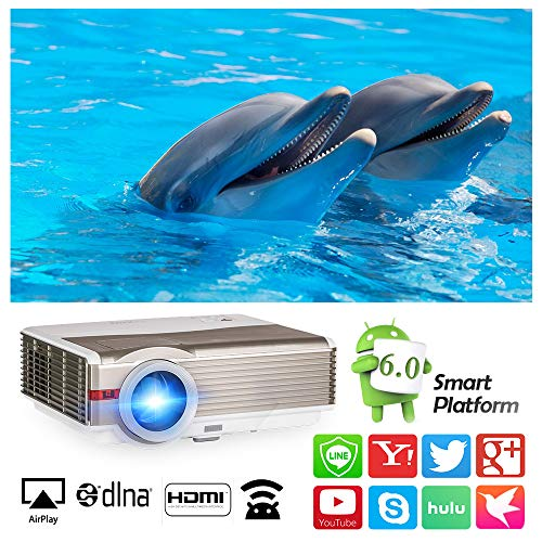 Bluetooth Projector Outdoor Movies LCD Multimedia Wireless Projectors 1080P Home Theater with Android 6.0 WiFi 5000 Lumen, HDMI USB Audio TV Smart Projector, for Video Games Sports Artwork Party