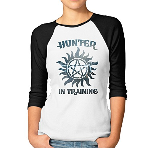 LOYRA Women's 3/4 Sleeve Supernatural Hunter In Training Running T Shirt Black M