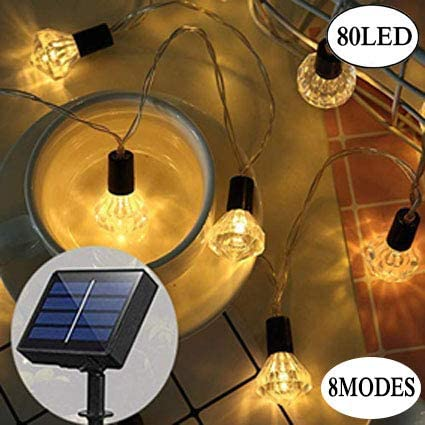 Solar Powered String Lights Outdoor 32 ft 80 LED 8 Modes Diamond Lights WarmWhite Fairy String Lights for Yard Patio Garden Party Holiday Deco 32, Diamond Warm White