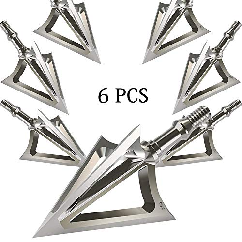 JIANZD Archery Broadheads 100 Grain Fixed Blades Stainless Steel 6 Pcs Hunting Broadheads for Crossbow Recurve Bow and Compound Bow-X1 (X1) (Best Broadhead For Crossbow Hunting)