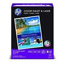 HP Paper, Color Inkjet and Laser, 24lb, 8.5 x 11, Letter, 97 Bright, 400 Sheets / 1 Ream (202040)