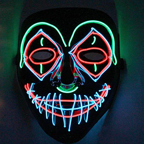 JOYIN Halloween Cosplay LED Mask Light Up Scary Skull/Clown Mask for Halloween Cosplay Costume Party