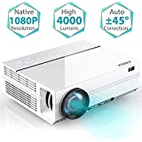 "GooBang Doo Projector, ABOX A6 Portable Home Theater 1080p Video Projector, Up to 200"" Image Display, Built-in HiFi Sound, 400 ANSI Lumen, 50,000 Hour Lamp Life, Supports HDMI, USB, SD Card, VGA, AV"