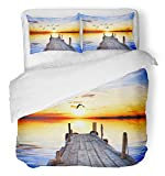Emvency 3 Piece Duvet Cover Set Breathable Brushed Microfiber Fabric Flying Lake of The Colors and Birds Island River Sunset Landscape Meditation Bedding Set with 2 Pillow Covers Full/Queen Size