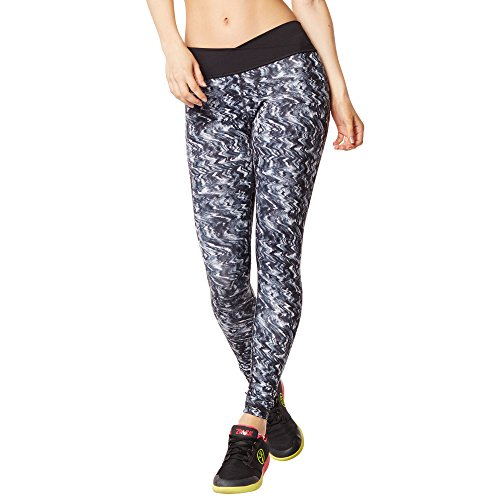 Zumba Womens Voltage Crossover Perfect Long Leggings, Back to black, Small