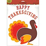 Amscan Colors of Autumn ''HAPPY THANKSGIVING'' Turkey Gel Clings Window Decorations, Multicolor, 18'' x 12''