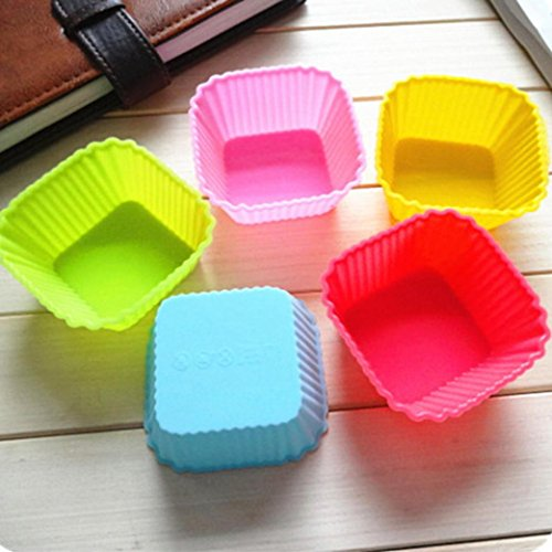 AMA(TM) 12pcs Silicone Baking Cup Cupcake Cup Wrappers Muffin Cup Cupcake Liners Non-Stick Multicolor Mini Baking Molds (I)